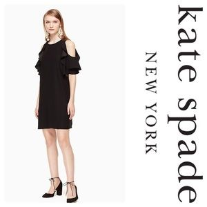New Kate Spade Cold Shoulder Crepe Dress Black